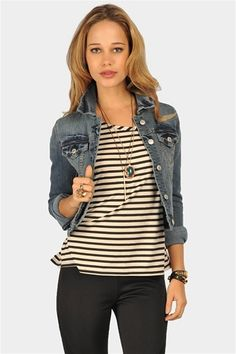Denim Jacket, Black striped tee, Black trousers - Casual Outfit