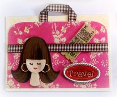 ATC Card - Travel. Scrapbook paper background, ribbon, travel sticker, ticket.