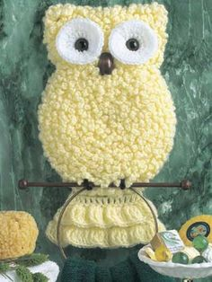 Owl Towel Holder  This brainy, cute-as-can-be towel holder, is perfect for the kid's bathroom or yours alike!  Designed by Martha Wisniewski  free pdf from free-crochet.com