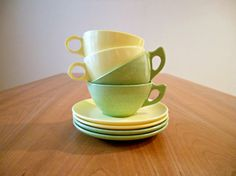 Vintage Melamine Cups and Saucers in Lime Yellow  by bergenhouse, $13.00