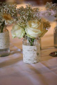 Jam Jar Lace with Avalanche Rose Jam Jar Wedding, Wedding Pins, Our Wedding, Wedding Flowers, Wedding Stuff, Wedding Reception Decorations, Wedding Favours, Wedding Themes, Wedding Crafts