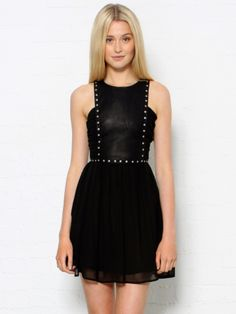 Mini Studded Dress by Style Stalker - Glassworks Studios Studded Dress, All Black Outfit, Dress Images, Queen, Dress Skirt, Chiffon Skirt, Material Girls, Ethical Fashion, Pretty Outfits
