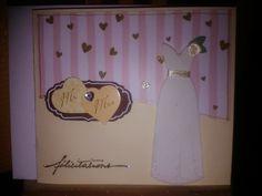 Carte félicitations avec robe de mariée