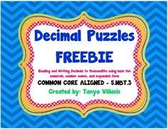 Decimal Puzzles FREEBIE COMMON CORE ALIGNED 5.NBT.3