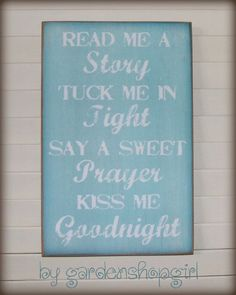 Bedtime Routine Wood Sign Children Baby Nursery Aqua Distressed Shabby Chic Country Inspirational Read Me a Story Tuck Me In Tight Prayer