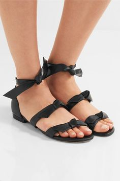 ALEXANDRE BIRMAN Lolita fashionable bow-embellished black leather sandals