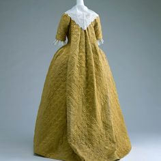 England, robe à la française, is floor-length and half-sleeved, a mustard-yellow silk satin with geometric and plant patterned quilting, KCI Digital Archive 18th Century Dress, 18th Century Clothing, 18th Century Fashion, Vintage Dresses, Vintage Outfits, Vintage Fashion, Historical Costume, Historical Clothing, Mode Rococo