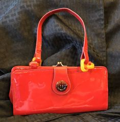2557fd72229d Vintage 1980s Red Faux Patent Leather Purse Plastic with Button Fabulous   fashion  clothing