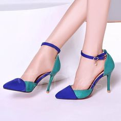 265d20543fbb7 Date party womens pointy toe Hot stilettos ankle strap buckle high heel  shoes in Clothing