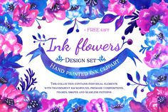 This is a colorfull Hand Painted Ink Design Set of flowers, leaves and branches. In a word it's a complete...