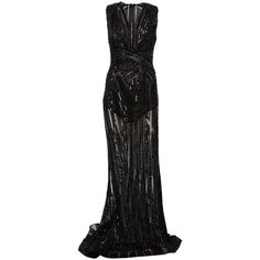 Zuhair Murad beaded sheer gown ($11,205) ❤ liked on Polyvore featuring dresses, gowns, long dress, black, transparent dress, sheer beaded dress, beaded evening gowns, see through dress and beaded ball gown