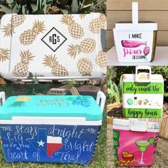 Sanded and Primed Coolers Sorority Canvas, Sorority Paddles, Sorority Crafts, Sorority Recruitment, Painted Fraternity Coolers, Frat Coolers, Painted Coolers, Cooler Painting, Diy Painting