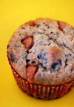 Butterscotch Brownie Banana Muffins- Banana muffins with Butterscotch Chips and Chopped Cup Brownie