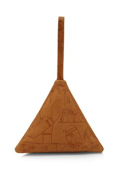 Small Leather Pyramid Pouch with Hieroglyphics by Slow and Steady Wins the Race - Moda Operandi