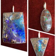 Beautiful boulder opal pendants minimalistically set in 925 Sterling silver. @ Peninnah Opals 📐❤️🔶