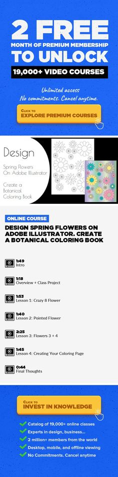 DESIGN Spring Flowers on Adobe Illustrator. Create a Botanical Coloring Book Design, Illustration, Digital Illustration, Adobe Illustrator, Drawing, Graphic Design, Creative, Coloring Book #onlinecourses #onlinelearningeducation #onlinelessonsdigitalcitizenship   WELCOME to DESIGN Spring Flowers on Adobe Illustrator.  Create a Botanical Coloring Book. My purpose is to help people achieve their cr...