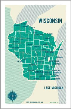 Maps are really popular in design right now, and I've been kind of iffy about them.  However, I think this vintage Wisconsin map is fabulous. I LOVE the colors!