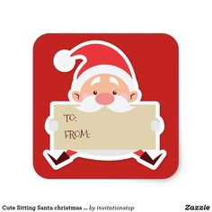 Cute Sitting Santa christmas Gift Sticker