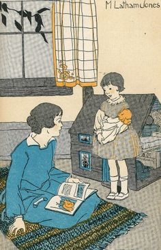 Little girl cradles doll in her arms - stands in front of mother with dollhouse in the background - artist M Latham jones