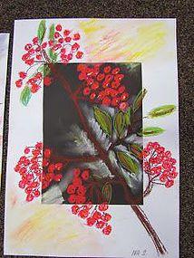 Pihlajanmarjat - j e ř a b i n y Fall Arts And Crafts, Autumn Crafts, Winter Art, Autumn Art, Art Activities For Kids, Art For Kids, 7th Grade Art, Autumn Painting, Kindergarten Art