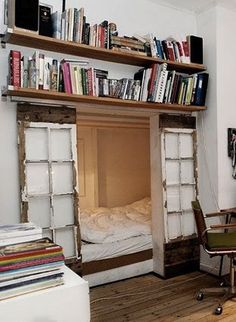 not sure if I like this for the bed nook or the bookshelves over the door