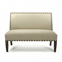 Jute and Wood Bench with Bronze Studs   TheStylishSea.com $1845