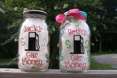 cute idea...Gas Money Jar Coin Bank.
