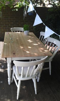 upcycled table and chairs. Painted pine shabby chic style. Farrow and Ball slipper satin