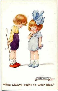 L2281 Boy and Girl w Blue Bow by Helen Jacobs POS | eBay