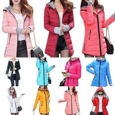 2f9c2f66cb Winter Women Down Cotton Parka Long Fur Collar Hooded Coat Jacket Outerwear  in Clothing