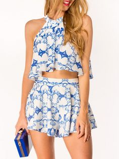 White Tile Print Cut Away Crop Top and High Waisted Skater Mini Skirt
