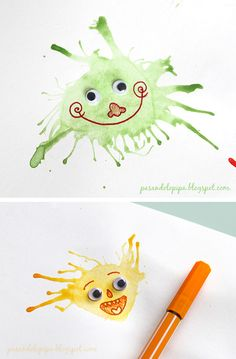 Watercolor monsters - use straws, brushes, Sharpies, and google eyes!