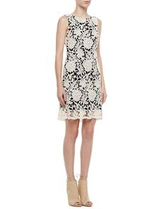 Alice + Olivia - Jolie A-Line Lace-Overlay Dress