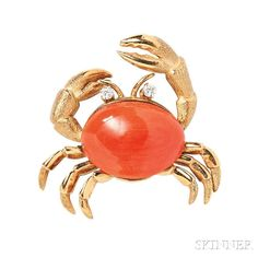 18kt Gold, Coral, and Diamond Crab Brooch - Current price: $425