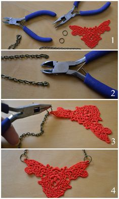 this looks easy and fun to make. a doily as a necklace