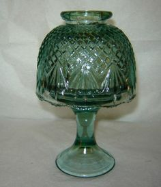 Vintage Westmoreland Mint Green Glass Fairy Lamp Pineapple Pattern 7"