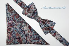 22e1de55c6aa Liberty paisley print tie Blue wedding bow tie and pocket square Men's  paisley bowtie Groomsmen bow ties Liberty London print handkerchief
