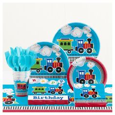 Creative Converting All Aboard Train Birthday Party Supplies Kit, Serves 8 1st Birthday Party Supplies, Trains Birthday Party, Baby Boy 1st Birthday, Train Party, 3rd Birthday Parties, Birthday Party Decorations, Birthday Ideas, Third Birthday, First Birthdays