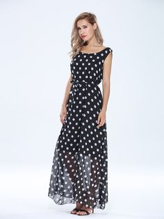 Sale 11% (25.52$) - Elegant Women Polka Dots Sleeveless Chiffon Maxi Dress With Belt