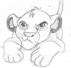 Disney drawings: disney sketch - simba, the lion king. Disney Sketches, Disney Drawings, Cartoon Drawings, Easy Drawings, Drawing Sketches, Pencil Drawings, Disney Character Sketches, Drawing Disney, Sketching