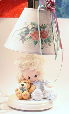 Vintage Lamp Girls Lamp Doll and Teddy Bear by DoorCountyVintage, $20.00