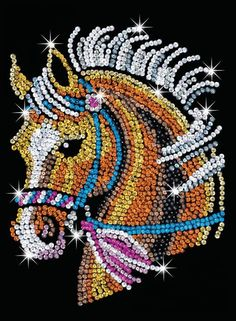 Sequin Art Blue, Horse, Sparkling Arts and Crafts Picture Kit; Creative Crafts for Adults and Kids Dot Art Painting, Acrylic Painting Canvas, Mandala Art, Seed Bead Art, Art Blue, Arts And Crafts Kits, Art Perle, Animal Art Projects, Rhinestone Art