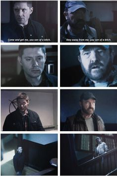 Supernatural Season 11x16 Safe House - Dean and Bobby parallels. I loved the end when they caught a glimpse of each other.