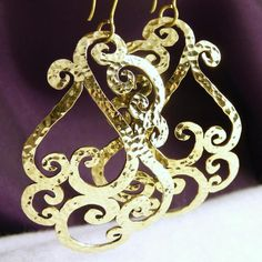 BRASS XLarge Earrings * Hammered SilverSari JALI SHAPES * Design #17