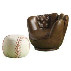 Crown Mark Baseball Glove Chair with Ottoman | Hayneedle