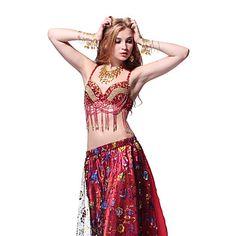 Desempenho lantejoulas Dancewear e Crystal com borlas Top Dança do Ventre mais cores para senhoras – BRL R$ 60,17