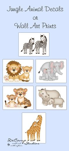 SAFARI ANIMAL PRINTS or Wall Decals Baby Girl Boy Jungle Nursery Room Decor Childrens Bedroom Kids Zebra Elephant Giraffe Tiger Stickers by decampstudios on Etsy https://www.etsy.com/listing/219243012/safari-animal-prints-or-wall-decals-baby