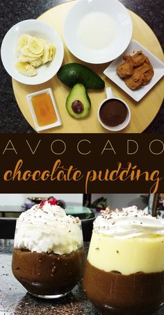 The avocado chocolate pudding is a chocolaty, rich, creamy, peanut-buttery, fudgy desert. Chocolate Pudding, Lunches And Dinners, Us Foods, Smoothies, Peanut Butter, Avocado, Cheesecake, Deserts, Dessert Recipes