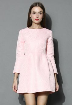 Candy Pink Floral Jacquard Dress - New Arrivals - Retro, Indie and Unique Fashion