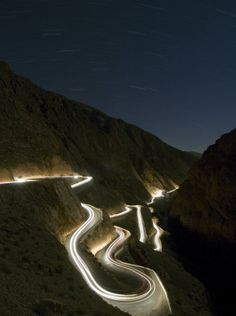Road in the High Atlas Mountaind at the edge of the Sahara Desert - at night